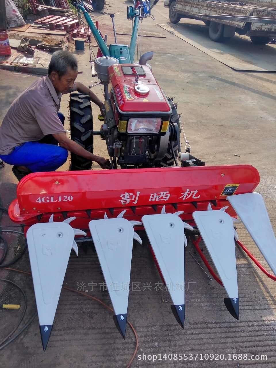 高效家用稻麥收割機四輪前置艾草油菜割曬機